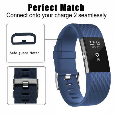 Blue Replacement Band for Fitbit Charge 2 Large Bracelet Watch Band Rate Fitness