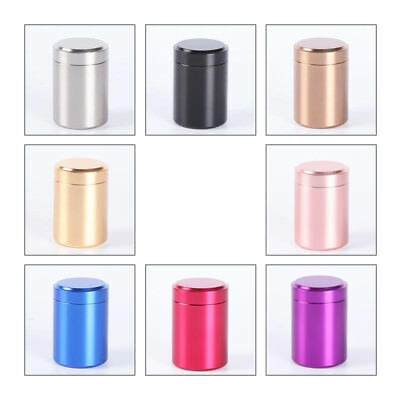 1x Metal Airtight Smell Proof Container Aluminum Tea Herb Stash Jars 65x45mm