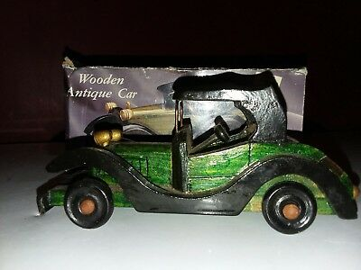 3 Old Handmade Wooden Lacqured Model Cars Hand Craft Antique Classic Car Toys