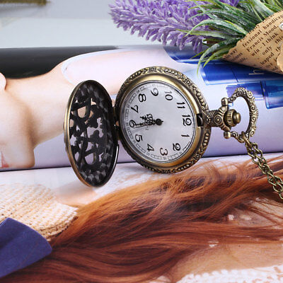 C77B Vintage Fashion Bronze DAD Hollow Quartz Pocket Watch Pendant Necklace