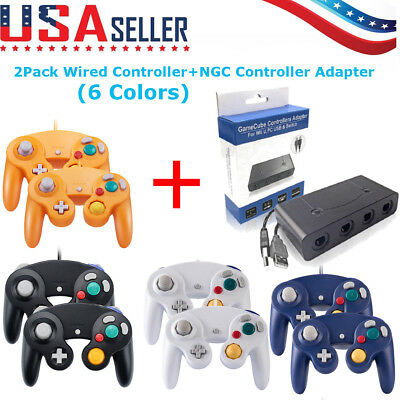 2Pack Wired NGC Controller Gamepad + Adapter for GameCube GC & Wii- Console
