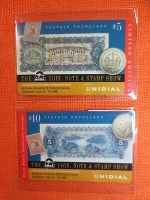 2x MINT UNIDIAL $5+$10 Phonecards BRISBANE ANDA Coin Note & Stamp Show 1998