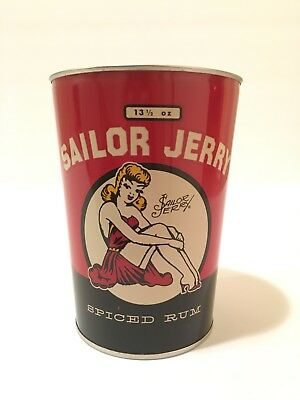 Sailor Jerry Spiced Rum Oil Can Tin Cup 13 1/2 oz Limited Edition Vintage Pen