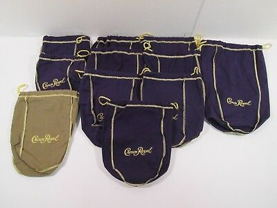 Lot of 11 Crown Royal Whisky Drawstring Bags Purple Small Medium and Large