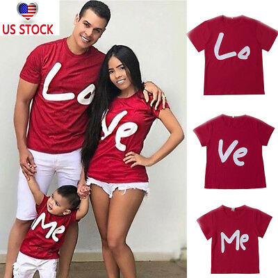 US Stock FAMILY Baby clothes for valentine's day Couple Tee Lovers Suits FSO