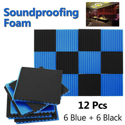 12x Soundproofing Acoustic Wedge Studio Foam Wall Panels For KTV Practical