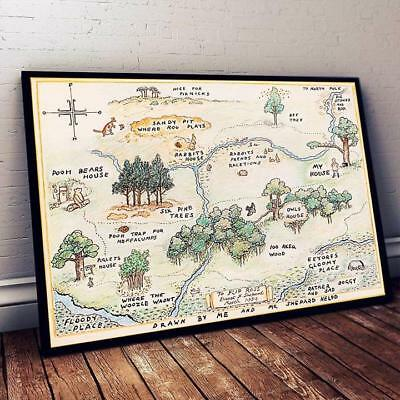 Winnie The Pooh Map Horizontal Poster 11-36 Inches Artwork Without Frame