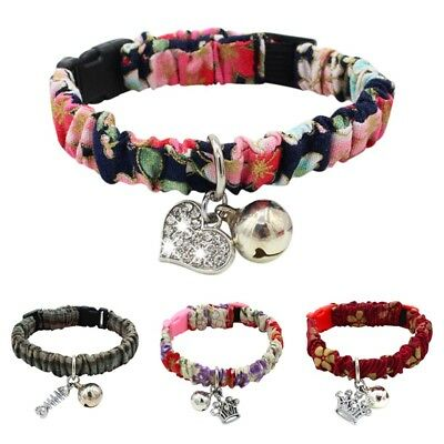 Adjustable Pet Cat Soft Floral Collar Kitten Safety Buckle Neck Strap With Bell
