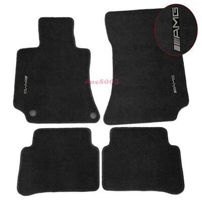 For 10-12 Benz W212 E-Class Black Nylon Floor Mats Carpets w/ AMG Embroidery
