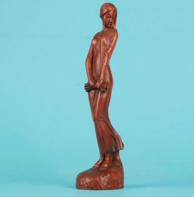Precious Chinese Boxwood Statue Home Decoration Old Hand-Carved Beauty Gift