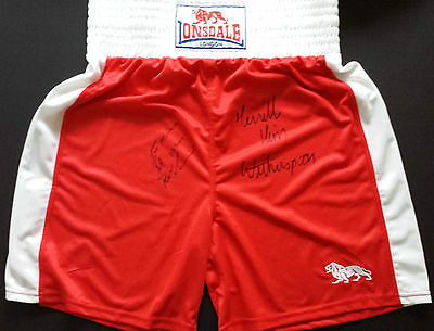 FRANK BRUNO & TIM WITHERSPOON Signed Shorts HEAVYWEIGHT BOXING Legends COA