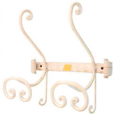 Coat racks wrought iron forged 2 places with fixing wall or wood