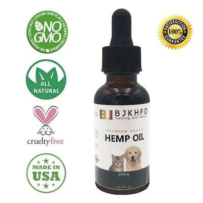 Hemp Oil for Dogs, Cats and All Pets, 250 mg, 100% Organic Treat and Food Supple