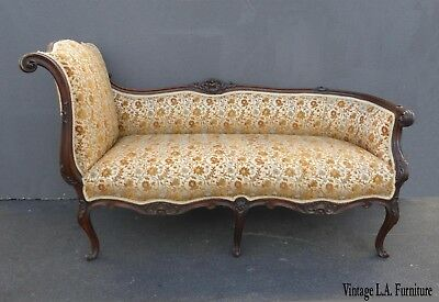 Vintage French Louis XVI Ornate Recamier Settee Lounger w Orange Floral Velvet