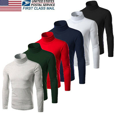 US STOCK Mens Thermal High Collar Turtleneck Long Sleeve Pullover Sweater Shirt