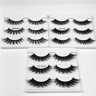 3X 3D Luxurious Real Mink Natural Cross Long Thick Eye Lashes False Eyelashes CL