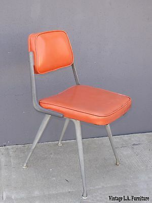 Vintage Mid Century Retro Orange Accent Computer Chair Made In USA by Dodds
