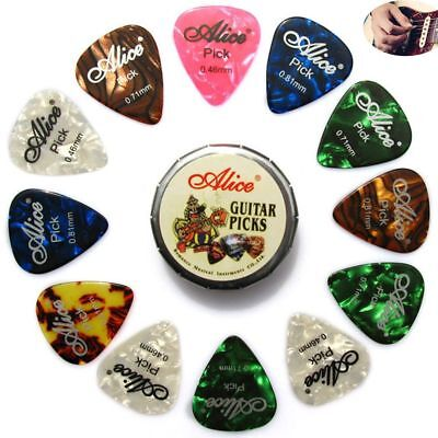 Gifts Alice Round Metal Picks Box Acoustic Electric Guitar Picks Mix Thickness