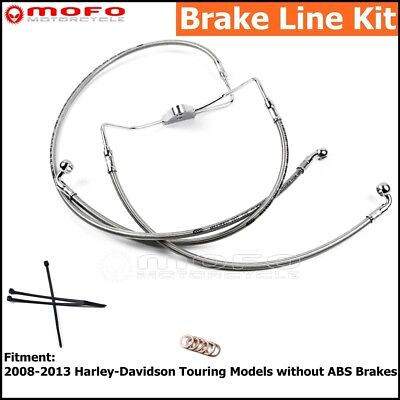 "Front +10"" Stainless Brake Line Kit For Harley Road King Street Glide 2008-2013"