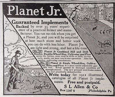 1911 Ad(Xa11)~Planet Jr. No.25 Combined Hill And Drill Seeder, Cultivator