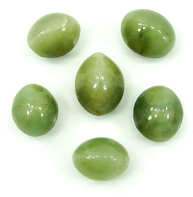 45.00 Ct Natural Cat's Eye Loose Gemstone Lot of 6 Pcs Cabochon Stone - 22865