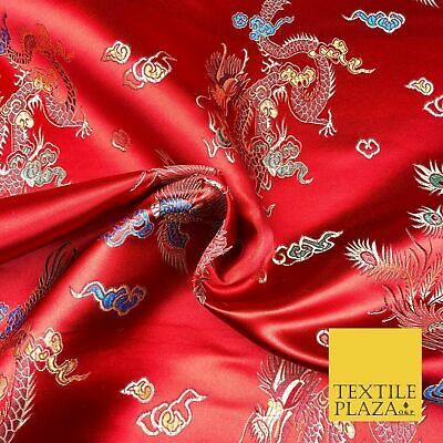 RED Oriental Dragon Chinese Brocade Satin Peacock Embroidered Dress Fabric A1114