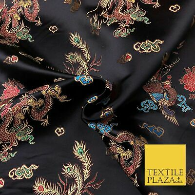 BLACK Oriental Dragon Chinese Brocade Satin Embroidered Dress Fabric A1115