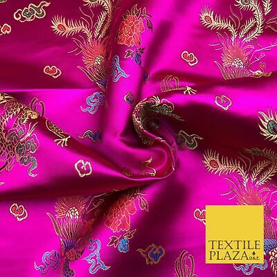 CERISE PINK Oriental Dragon Chinese Brocade Satin Embroidered Dress Fabric A1116
