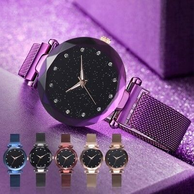 Starry Sky Watch Magnet Strap Free Buckle Stainless Steel Women Girl Gift UK