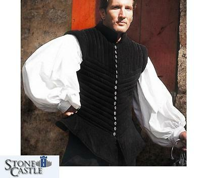 Padded Short Sleeved Black Jerkin. Perfect for Re-enactment, Stage or LARP