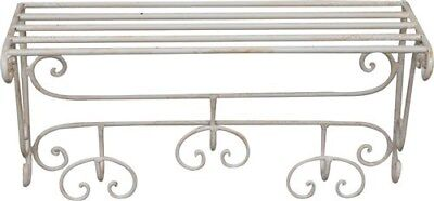 Coat Hangers Clothes Hook a 3 Places Wrought Iron White