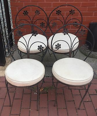 Set Of 4 Salterini Style Ice Cream Parlor Bistro Chairs Wrought Iron Cushion