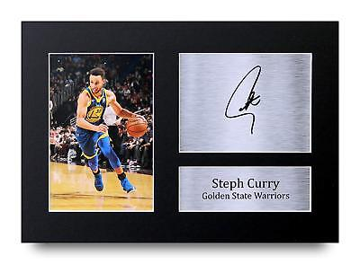 Steph Curry Gift Signed A4 Printed Autograph Golden State Warriors Gifts Photo