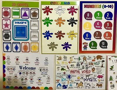 5x CHILDREN KIDS EDUCATIONAL LEARNING POSTERS A4 Shapes Colours Numbers Animals