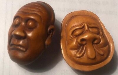 Two(2) Boxwood Hand Carved Japanese Netsuke Sculptures Of Two-faced Heads Signed