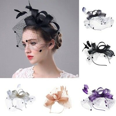 6d73125d3ce77 Women s Fascinator Hat Flower Mesh Ribbons Feathers Headband Cocktail Tea  Party