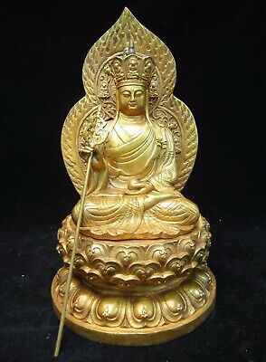 "Large Heavy Old Chinese Bronze ""the King of Inferno"" Buddha Statue ""XuanDe"""
