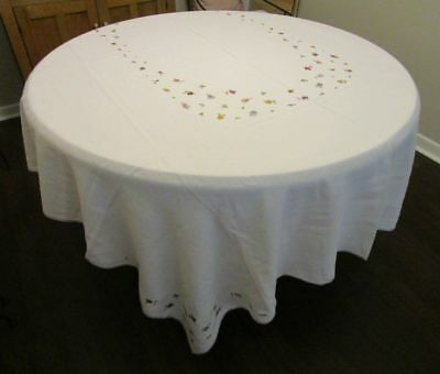 Vintage Ivory Linen Tablecloth Whimsical Embroidered Flowers 72x94