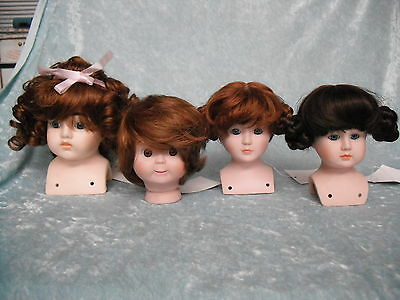 Doll kits porcelain -head/arms/legs/wig/body pattern to make up 4 dolls