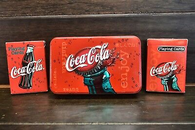 Coca Cola Embossed Bottle Cap Tin w/ 2 Decks Of Coke Bicycle Playing Cards