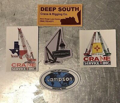 Deep South, Crane Service -Construction Oilfield  Iron Workers Hard Hat Stickers