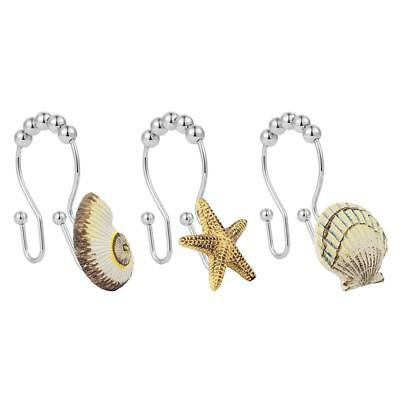 Sea shell conch starfish Double Hooks Glide Shower Ring For Shower Curtain X9R8