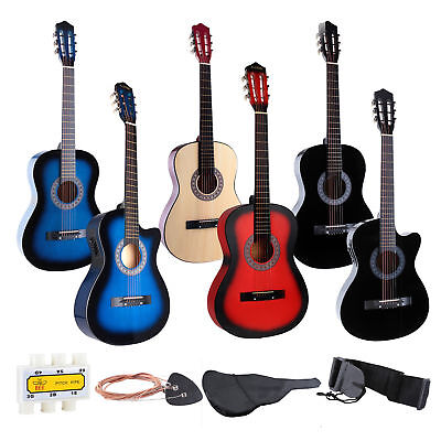 34'' 38'' Beginner Acoustic Guitar Practice with Guitar Case, Strap, Tuner&Pick