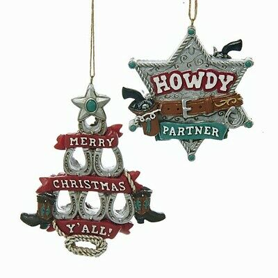 Kurt Adler Western Horseshoe Tree Sheriff Badge Ornaments J8330
