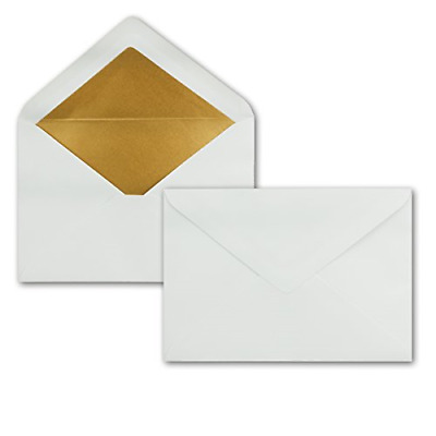 Letter Envelopes DIN C5-157 x 225 mm, White with Golden Silk Lining, Wet without