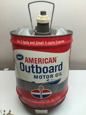 Vintage Rare American Oil  5 Gallon Outboard Motor Oil Gas Can Spout And Handle
