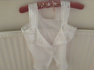 Vintage french linen young ladies camisole top with lace trimings