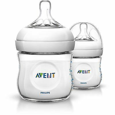 Philips AVENT Natural Newborn Feeding Bottle 125ml 2 Bottles BPA Free SCF690/27