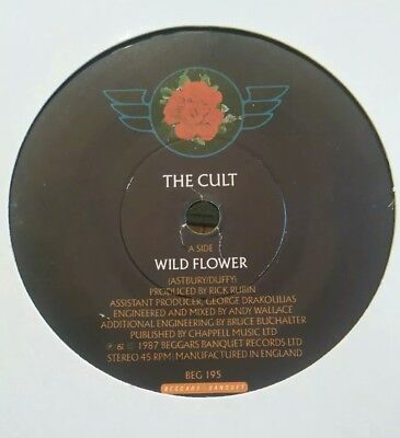 "THE CULT - 7"" Vinyl - Wild Flower / Love Trooper - 1987 - Beggars Banquet"