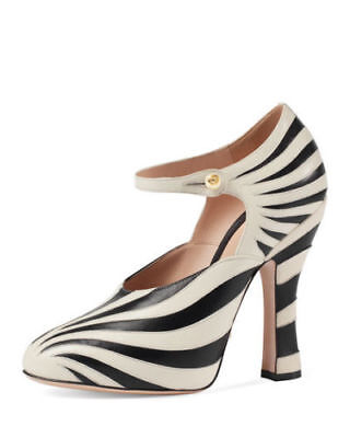 fe02b1aa33d New  990 Gucci Lesley Mary Jane Zebra Stripe Leather Heels Pumps Size 37.5    7.5